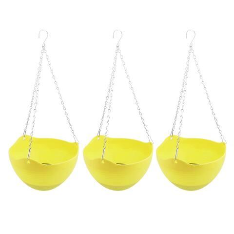"Parterre DIY Chain Hanging Plant Flower Orchid Pot Holder Yellow 3pcs - 9.4"" x 21.1""(Max.D*H)"