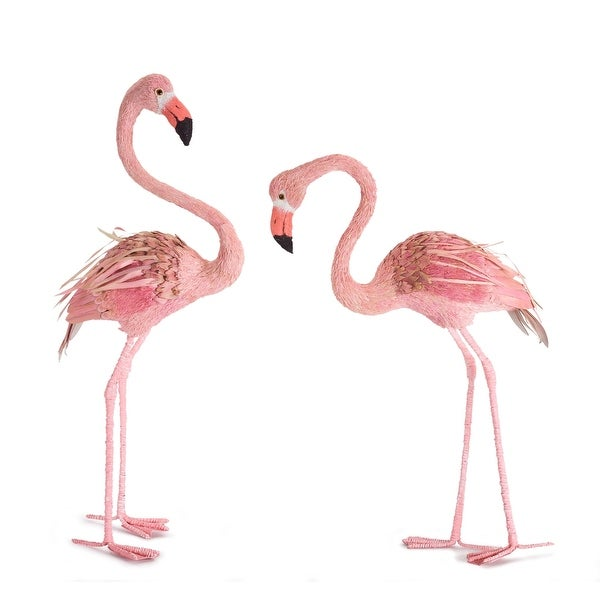 "Set of 2 Pink and White Flamingo Figurines 31"" - N/A"