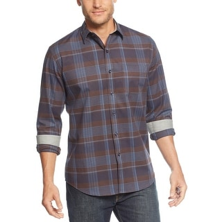 Tasso Elba Long Sleeve Plaid Brushed Cotton Shirt Brown and Blue Combo X-Large