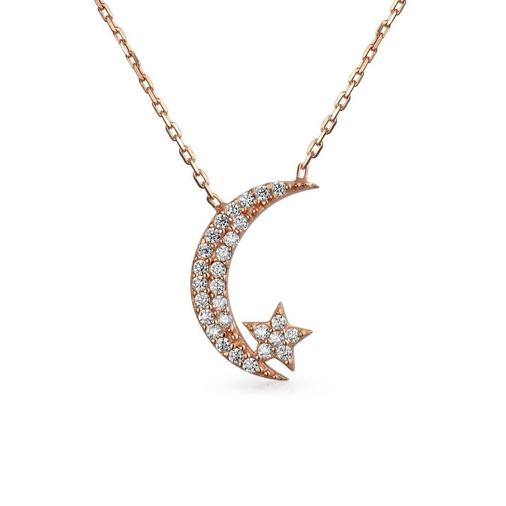 Crescent Moon Star Pendant Necklace Silver