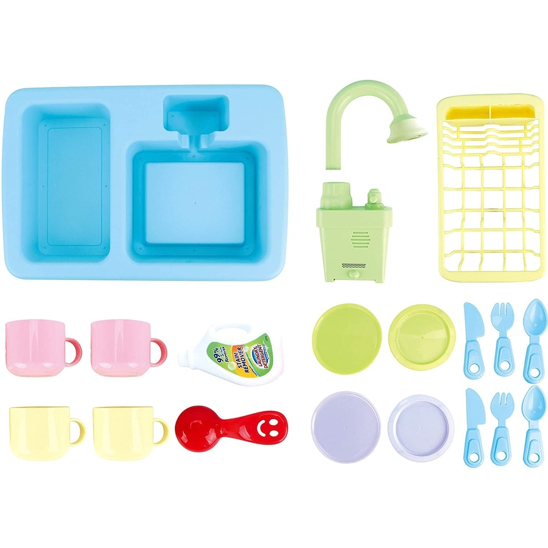 Iq Toys 18 Piece Deluxe Modern Dishes Play Set Pretend Play Wash Up Kitchen Sink With Real Running Water Overstock 31609054