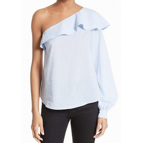 928c14ec4303c Shop A.L.C. Oxford Blue Womens Size 12 One-Shoulder Ruffle Blouse ...