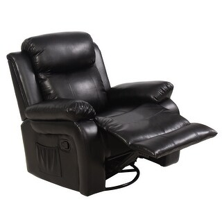 Costway Ergonomic Massage Sofa Chair Head Supported Recliner Swivel Heating w/ Control Black