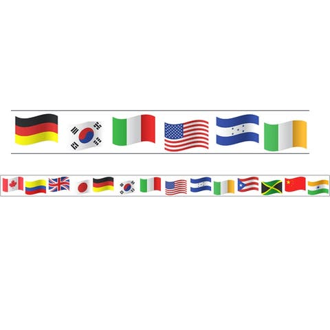 "Borders/Trims, Magnetic, Rectangle Cut - 1-1/2"" x 24"", World Flags Theme, 12/Bag - One Size"