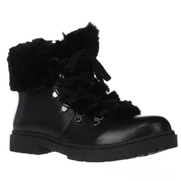 I35 Pamelia Faux Fur Combat Boots, Black