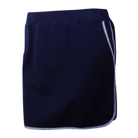 Tommy Hilfiger Women's Pipe-Trim Terry-Knit Skirt (L, Masters Navy) - Masters Navy - L