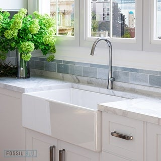 Luxury 33 inch Modern Fireclay Farmhouse Kitchen Sink in White, Single Bowl with Flat Front, includes Stainless Steel Drain