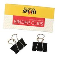 School Smart Binder Clip, 1-1/4 Inches, Medium, Pack of 12