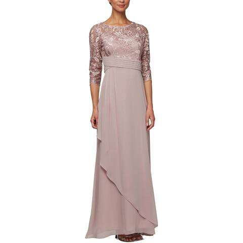 Alex Evenings Womens Petites Evening Dress Lace Formal - Rose - 14P