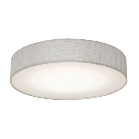 Ashland 15-inch White LED Flush Mount, Grey Fabric Shade