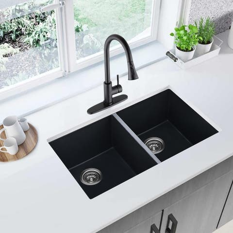 Proox 32'' L x 18'' W Undermount Quartz Double Bowl Kitchen Sink