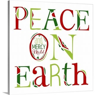 """Peace on Earth on White"" Canvas Wall Art"