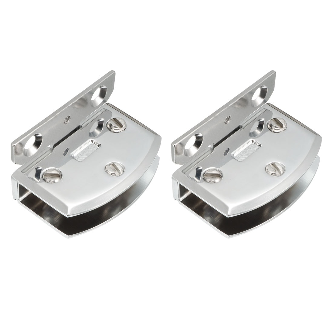 2 Pcs Cabinet Glass Wall to Door Metal Hinge Silver Tone