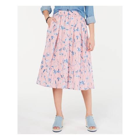 TOMMY HILFIGER Womens Pink Printed Midi Pleated Skirt Size XXL