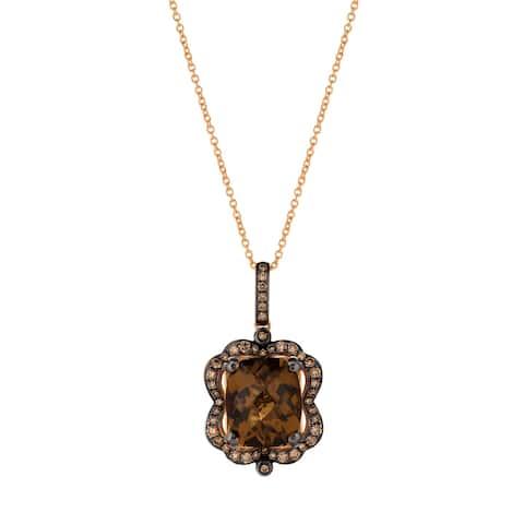 Encore by Le Vian caramel Quartz & Chocolate Diamond Pendant 14K Rose Gold