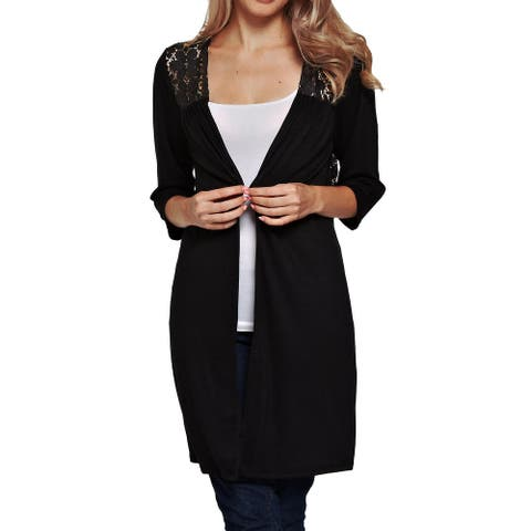 Funfash Plus Size Women Black Lace Long Sleeves Cardigan Sweater USA