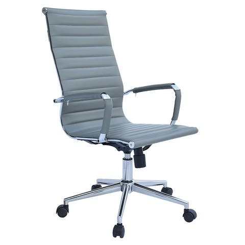 2xhome Executive Ergonomic High Back Modern Office Chair Ribbed PU Leather Swivel for Manager Conference Computer Room