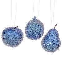 3ct Cobalt Blue Beaded, Sequin and Glitter Pear, Apple and Pomegranate Fruit Christmas Ornaments
