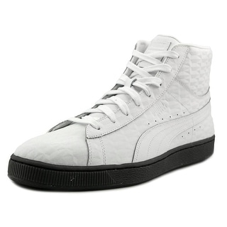 Puma Basket Classic Mid Men Round Toe Leather White Sneakers