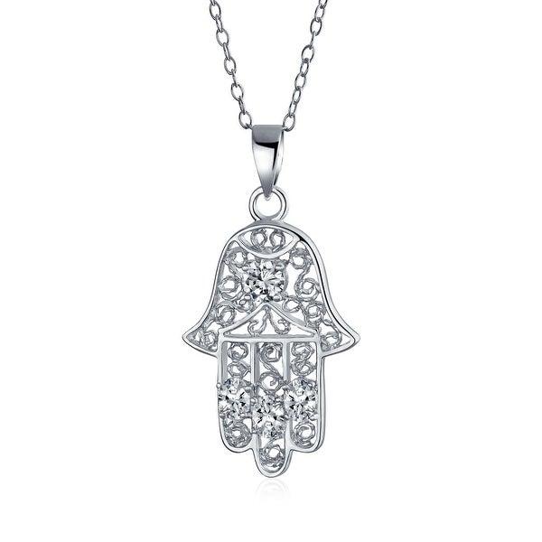 .925 Sterling Silver Filigree Hamsa Pendant CZ Necklace 18 Inch