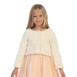 Angels Garment Little Girls Ivory Fully Lined Swirl Soft Long Sleeve Bolero 4-6