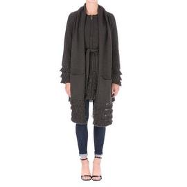 Laundry by Shelli Segal Womens Long Sleeves Fringe Sweatercoat