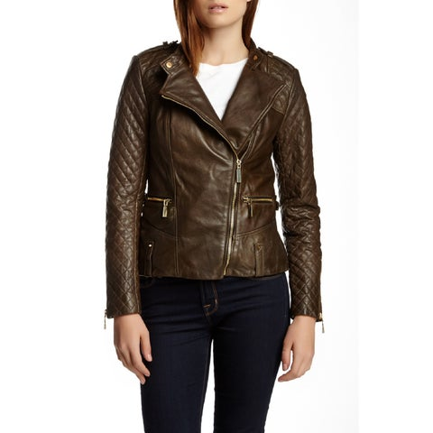 Vince Camuto Quilted Asymmetrical Zip Leather Moto Jacket Olive