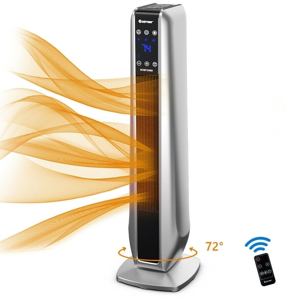 FLAMEMORE Portable Ceramic Tower Heater Oscillating Digital Display w//Remote ...