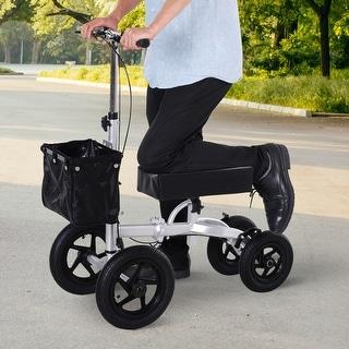 HOMCOM Knee Scooter with Basket Storage, Walker Mobility During Medical Rehabilitation & Injury, Folding for Transport