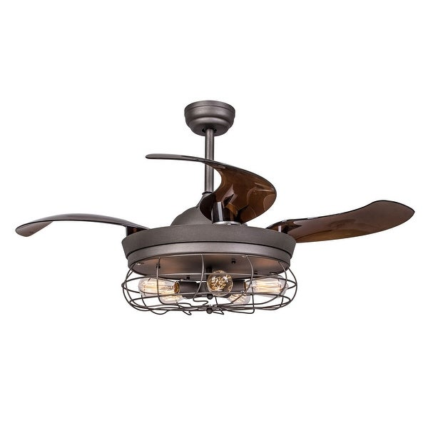 Rustic 42 Inch Retractable Blades Ceiling Fan With 5 Lights