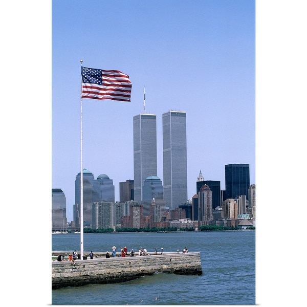 """""""American flag and World Trade Center Towers, New York City"""" Poster Print"""