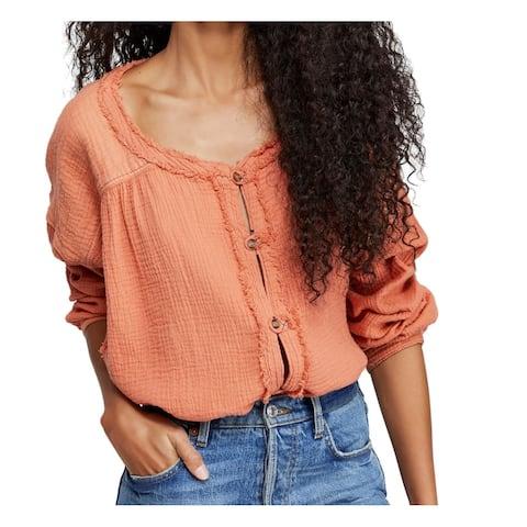 Free People Women's Blouse Orange Size XS Button Down Fringe Trim