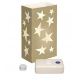 Club Pack of 12 Golden Star Luminaria Christmas Tea Light Candle Kits 11""