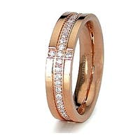 5mm Stainless Steel Rose Gold Plated Ring with CZ Accents (Sizes 6-8)