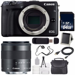 Canon EOS M3 Mark III 24.2 Mp Mirrorless Camera (International Model) (Black) + Canon EF-M 18-55mm IS STM Lens Bundle