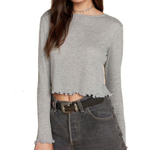 Willow & Clay Womens Lettuce-Edge Cropped Knit Top $28