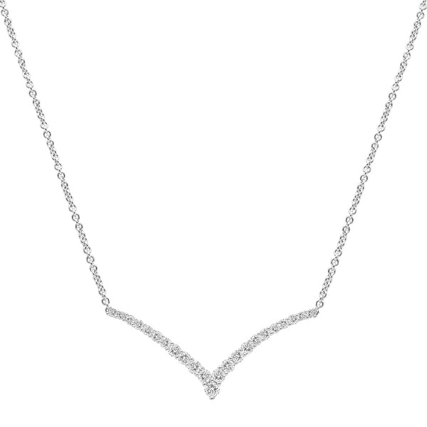 1 1/2 ct Created White Sapphire Chevron Necklace in Sterling Silver