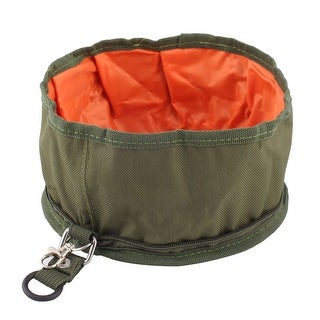 Unique Bargains Collapsible Fabric Travel Dog Pet Food Water Bowl