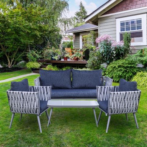 ALEKO Rattan Wicker 4-Piece Indoor/Outdoor Patio Conversation Sofa Furniture - Irvine Set