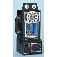 "9.75"" Amusements Musical LED Lighted Retro Telephone with Revolving Christmas Train Table Top - black"