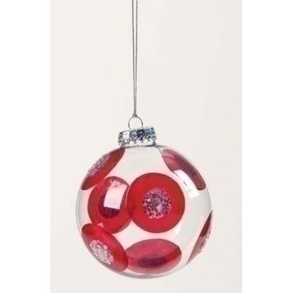 "Sweet Memories Retro Glass Ball Red Dot Christmas Ornament 4"" (100mm) - CLEAR"
