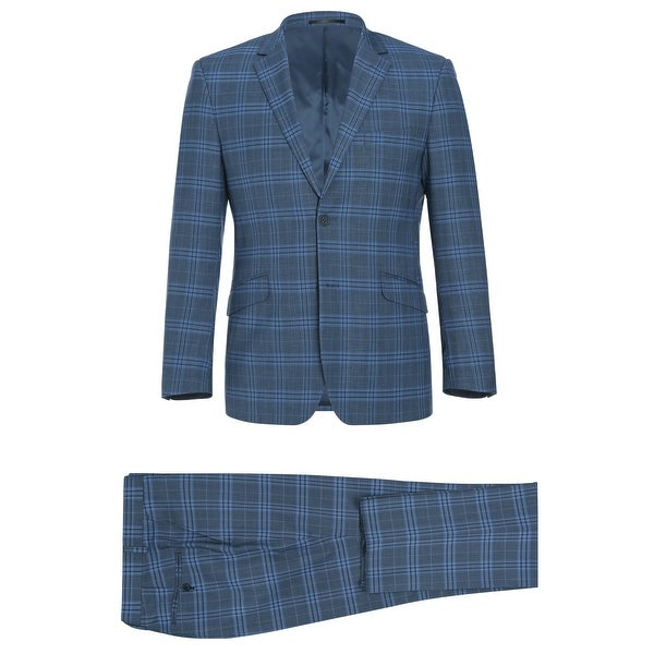 Mens 2 Piece Slim Fit Performance Windowpane Check Stretch Suit by  Modern