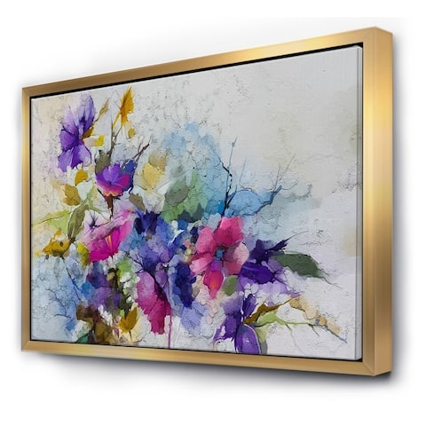 Designart 'Purple Yellow And Blue Abstract Flower Compostion I' Farmhouse Framed Canvas Wall Art Print