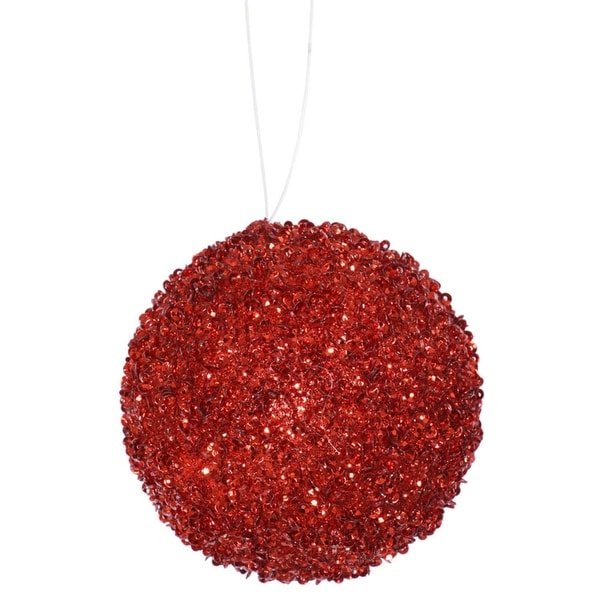 """3ct Berry Red Sequin and Glitter Drenched Christmas Ball Ornaments 4.75"""" (120mm)"""
