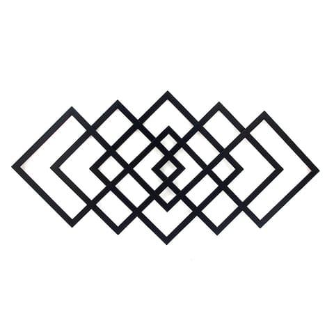 40-inch Black Geometric Diamond Metal Wall Decor