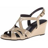 Vaneli Beige Shoes Size 11M Wedges Patent Leather Sandals