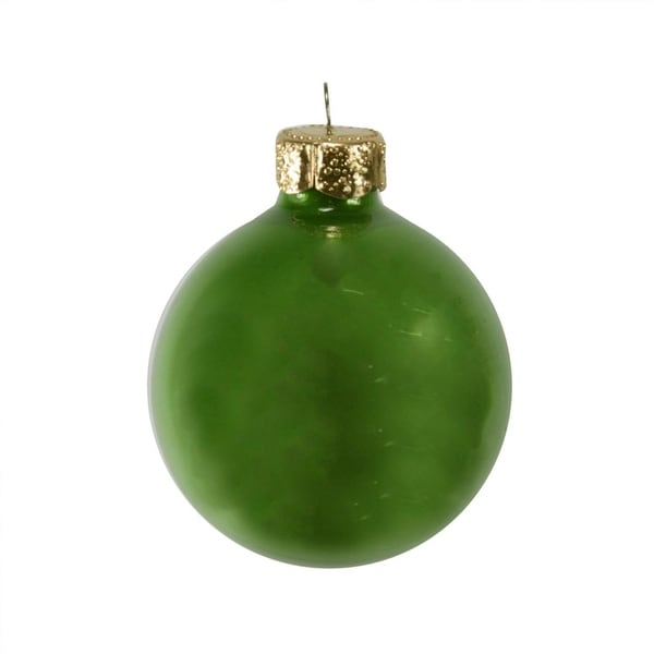 "40ct Pearl Soft Green Glass Ball Christmas Ornaments 1.25"" (30mm)"
