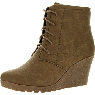 Reneeze Womens Cherry-2 Wedge Ankle Booties - Khaki - 5.5 b(m) us