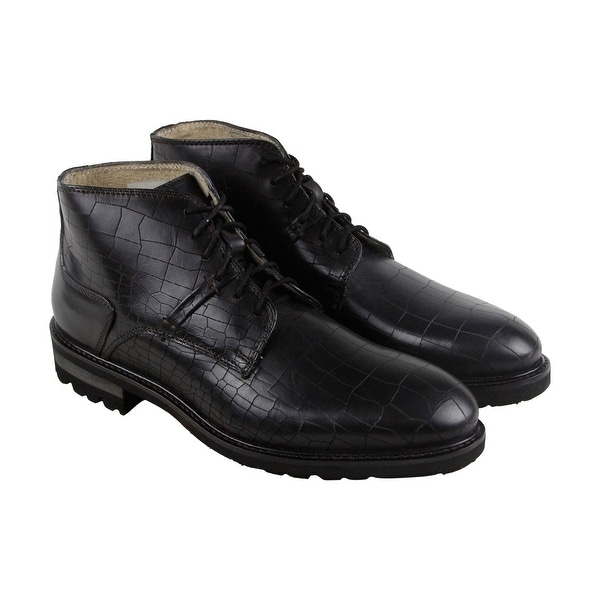 GBX Breccan Mens Black Leather Casual Dress Lace Up Boots Shoes