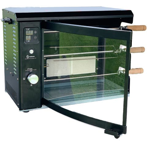 Brazilian Flame Brazilian Gas Rotisserie Grill with 3 Skewers in Black